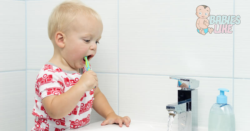 Toddler brushing teeth