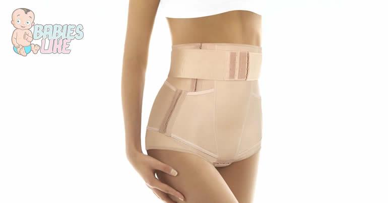 Woman wearing a postpartum girdle