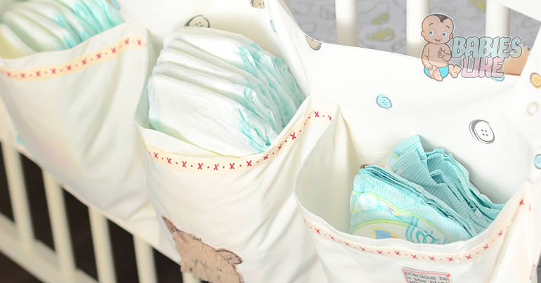 Diapers in a hanging caddy